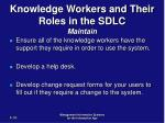 knowledge workers and their roles in the sdlc maintain