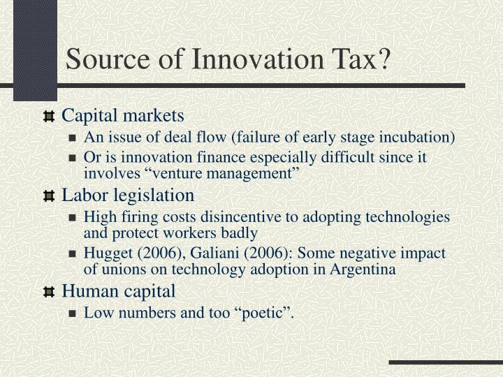 Source of Innovation Tax?