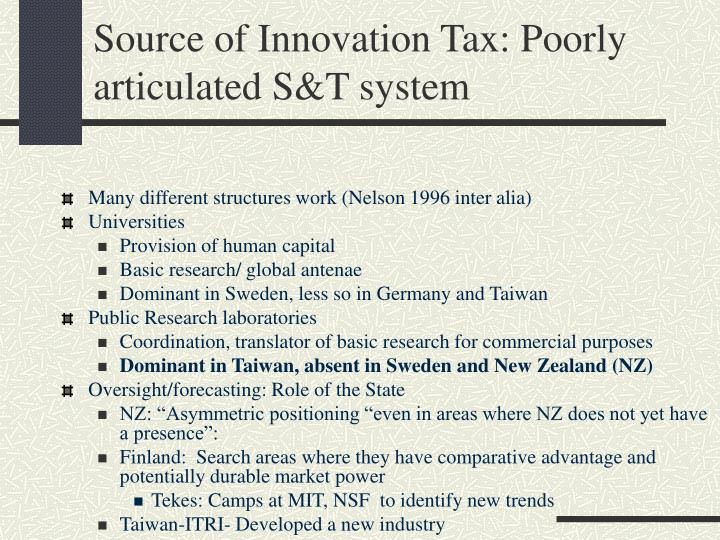 Source of Innovation Tax: Poorly articulated S&T system