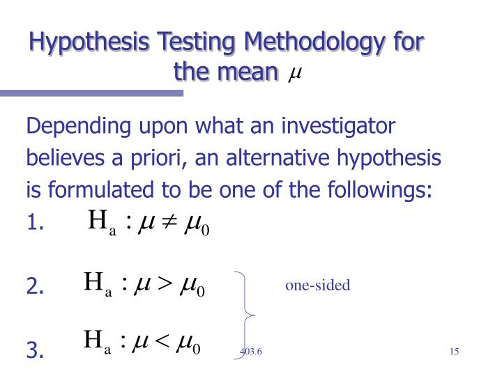 Hypothesis Testing Methodology for the mean