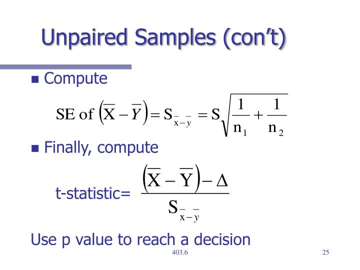 Unpaired Samples (con't)