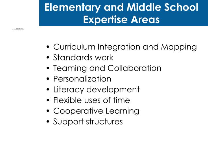Elementary and Middle School Expertise Areas