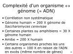 complexit d un organisme g nome adn