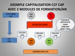 exemple capitalisation ccf cap avec 2 modules de formation an