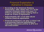 financial exploitation alzheimer s disease