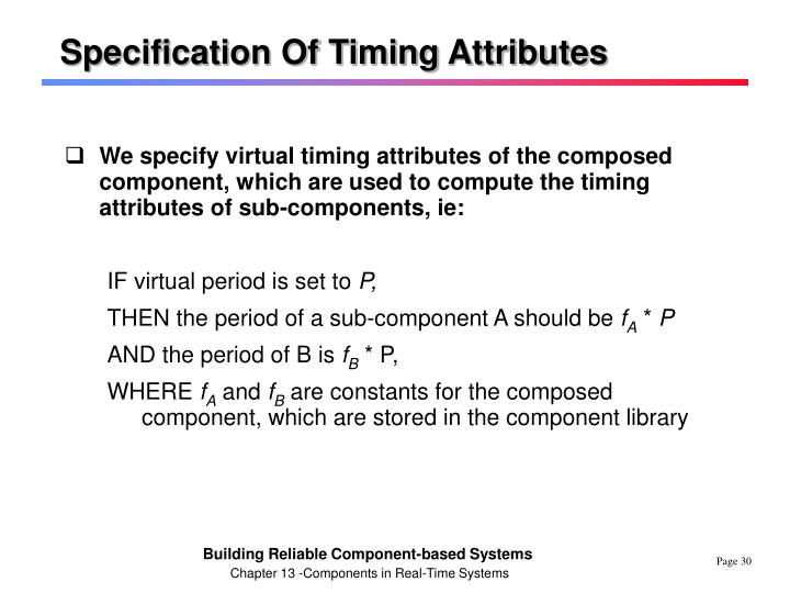 Specification Of Timing Attributes