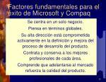 factores fundamentales para el xito de microsoft y compaq