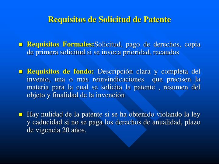 Requisitos de Solicitud de Patente