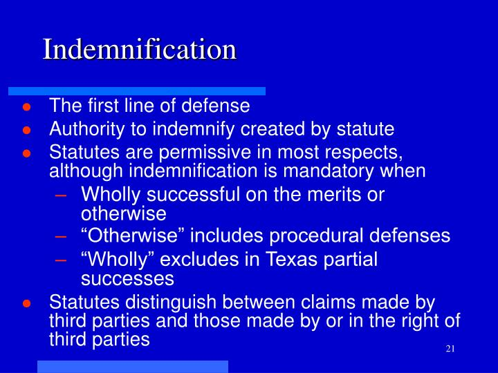 Indemnification