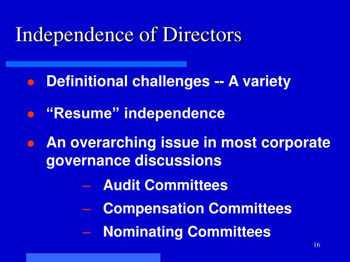 Independence of Directors