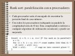 rank sort paralelizaci n con n procesadores