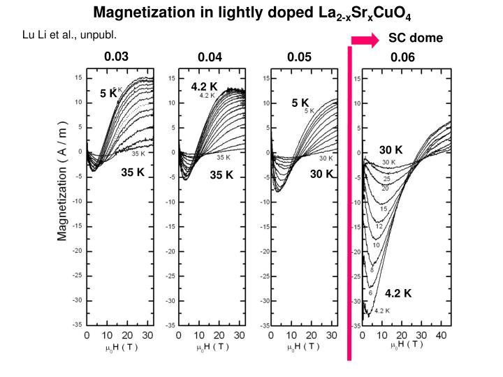 Magnetization in lightly doped La