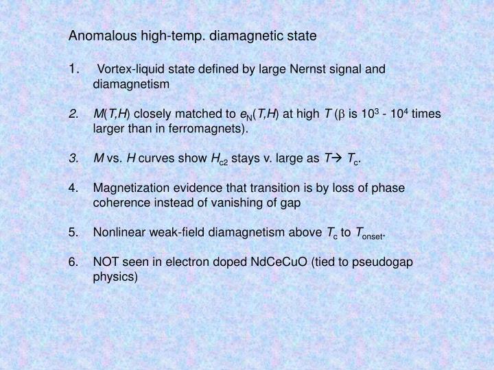 Anomalous high-temp. diamagnetic state