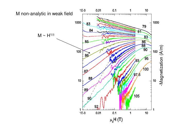 M non-analytic in weak field