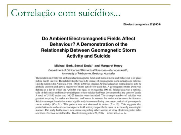 Correlação com suicídios...