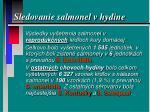 sledovanie salmonel v hydine