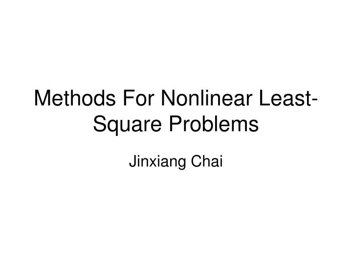 methods for nonlinear least square problems n.