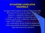 situazione legislativa nazionale