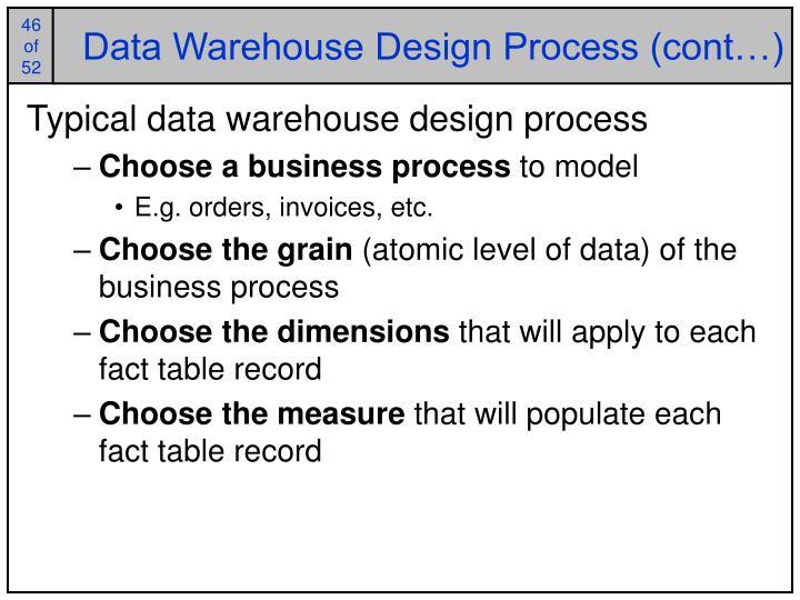 Data Warehouse Design Process (cont…)