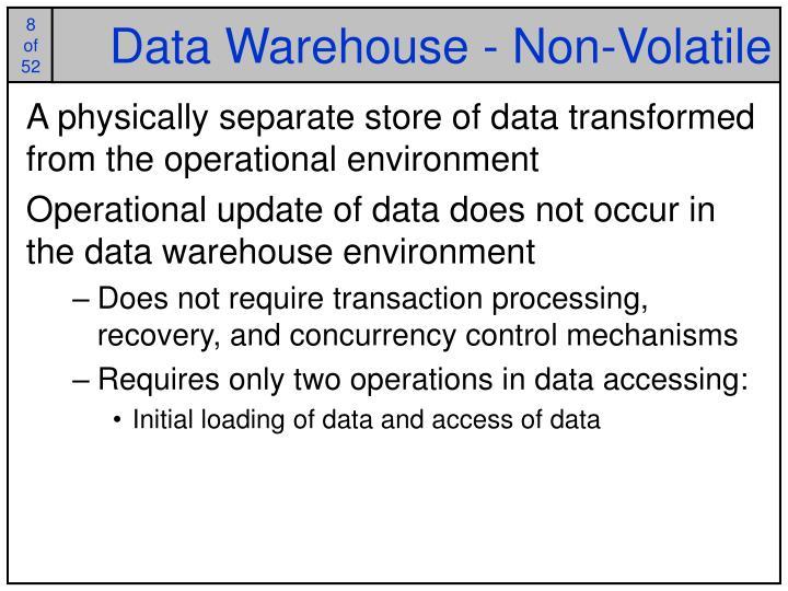 Data Warehouse - Non-Volatile
