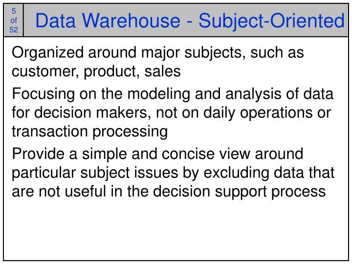 Data Warehouse - Subject-Oriented