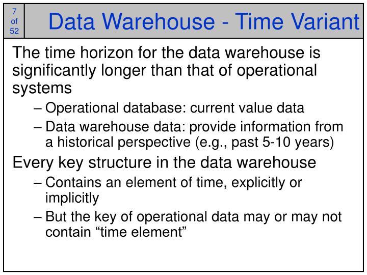 Data Warehouse - Time Variant
