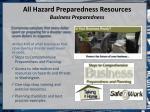 all hazard preparedness resources business preparedness