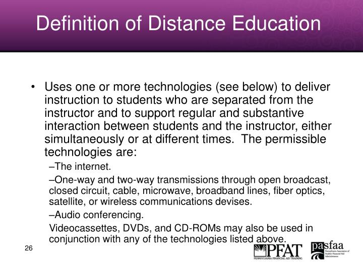 Definition of Distance Education
