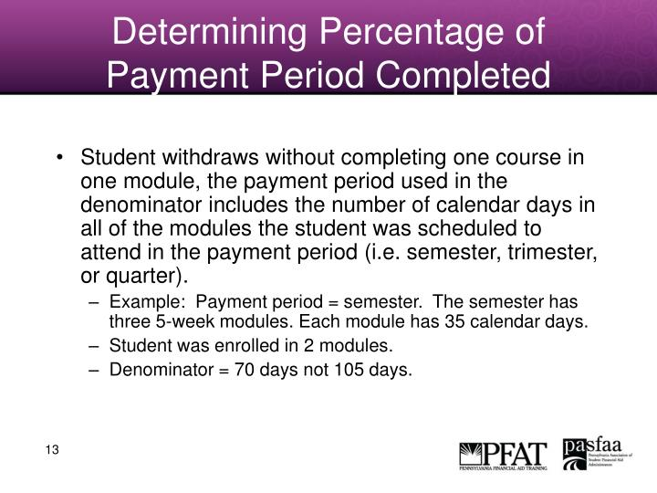 Determining Percentage of Payment Period Completed
