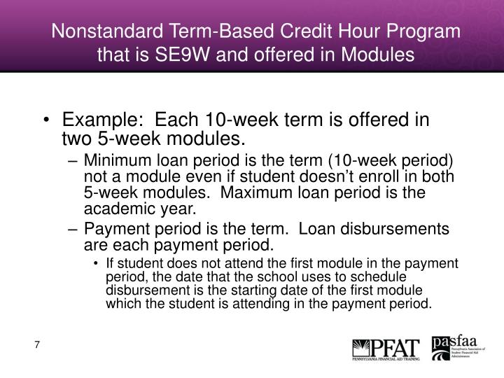 Nonstandard Term-Based Credit Hour Program that is SE9W and offered in Modules