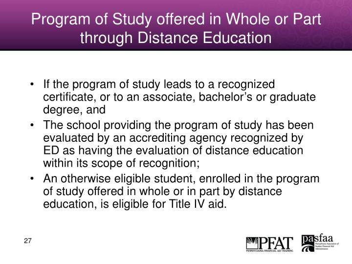 Program of Study offered in Whole or Part through Distance Education