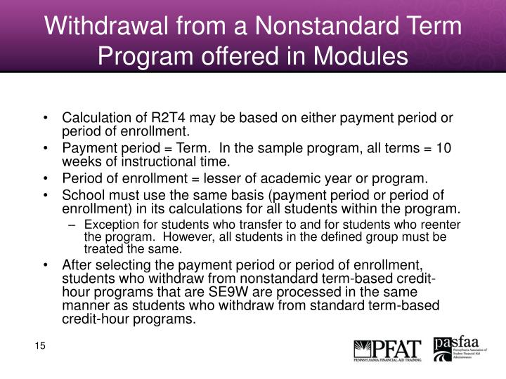 Withdrawal from a Nonstandard Term Program offered in Modules