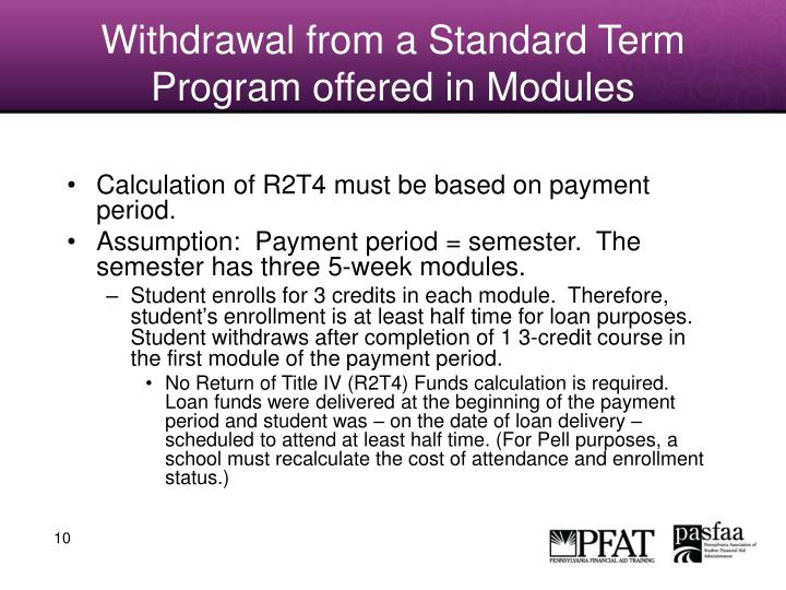 Withdrawal from a Standard Term Program offered in Modules