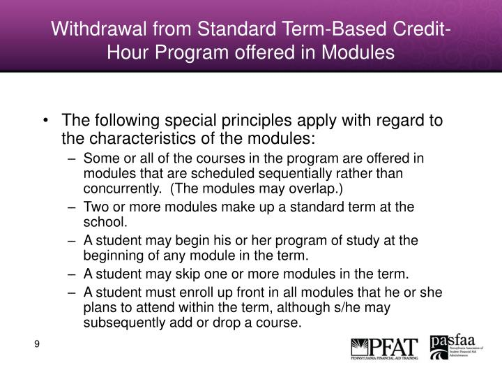Withdrawal from Standard Term-Based Credit-Hour Program offered in Modules