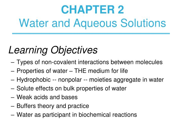 chapter 2 water and aqueous solutions n.