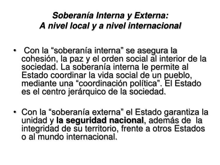 Soberanía Interna y Externa: