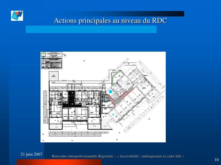 Actions principales au niveau du RDC