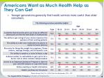 americans want as much health help as they can get