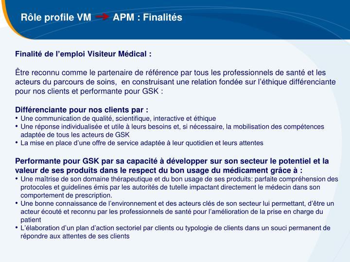 Rôle profile VM        APM : Finalités