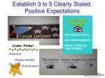 establish 3 to 5 clearly stated positive expectations