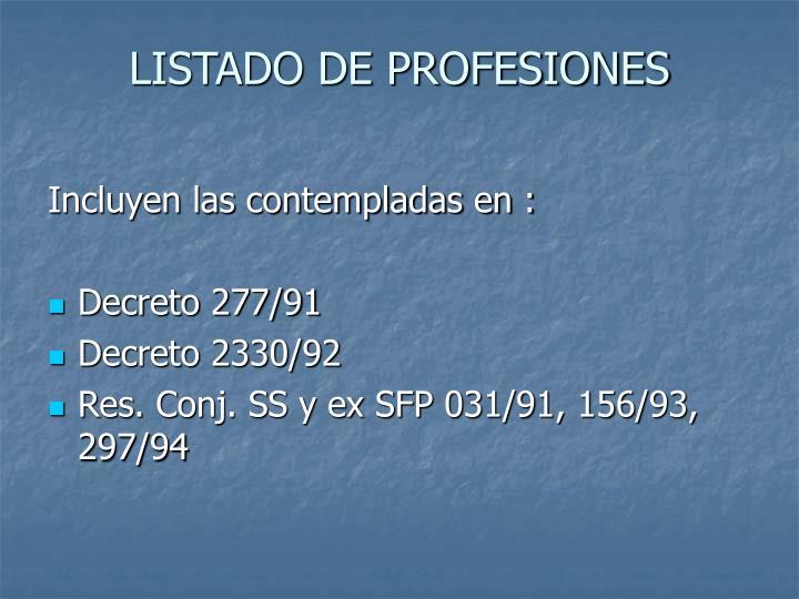 LISTADO DE PROFESIONES