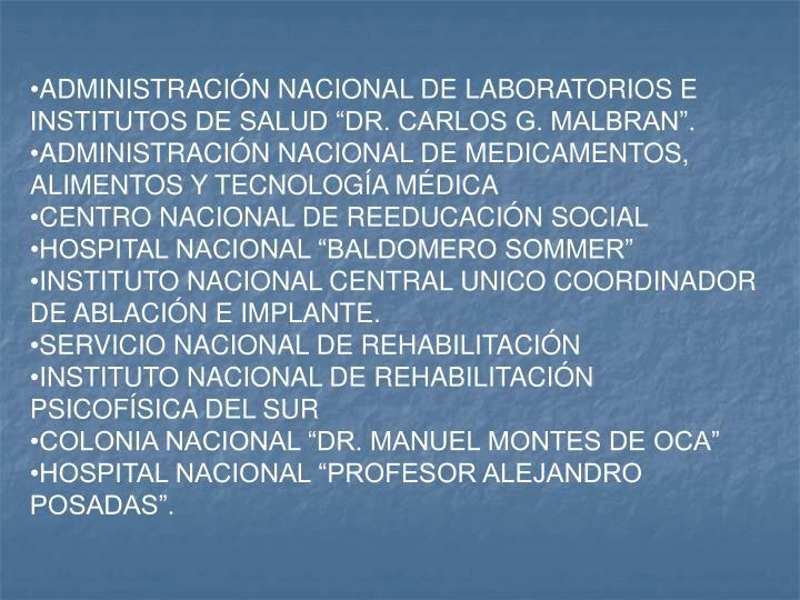 """ADMINISTRACIÓN NACIONAL DE LABORATORIOS E INSTITUTOS DE SALUD """"DR. CARLOS G. MALBRAN""""."""