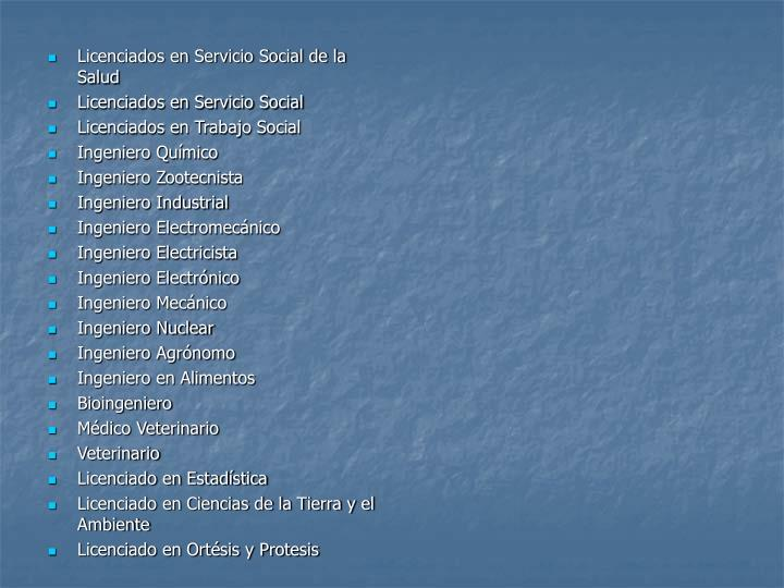 Licenciados en Servicio Social de la Salud