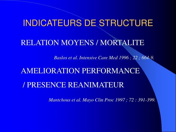 INDICATEURS DE STRUCTURE