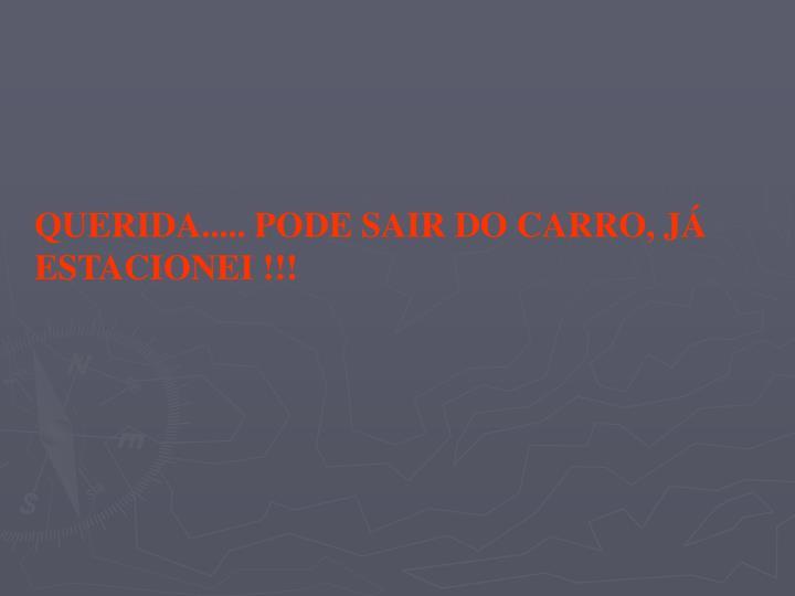 QUERIDA..... PODE SAIR DO CARRO, JÁ ESTACIONEI !!!