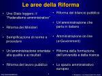 le aree della riforma