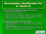 necesidades identificadas por el sector b