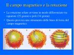 il campo magnetico e la rotazione