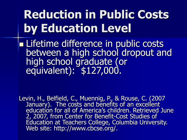 Reduction in Public Costs by Education Level