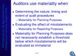 auditors use materiality when